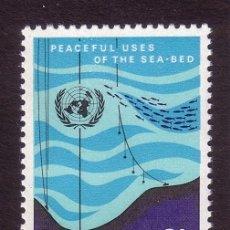 Sellos: NACIONES UNIDAS NUEVA YORK 208** - AÑO 1971 - USO PACÍFICO DE LOS FONDOS MARINOS. Lote 174693420
