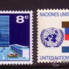 Sellos: NACIONES UNIDAS NUEVA YORK 215/16** - AÑO 1971 - SERIE BÁSICA - SEDE Y BANDERAS. Lote 173100073