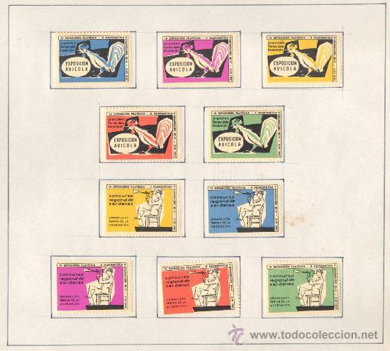 Sellos: 1957.- VIÑETAS EXPOSICIÓN FILATELICA DE GRANOLLERS.JUEGO COMPLETO DE 10 COLECCIONES - Foto 2 - 19438164
