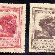 Sellos: RARAS VIÑETAS - MONTILLA (CORDOBA) - IV CENTENARIO DE SAN FRANCISCO SOLANO - AÑO 1949. Lote 21106376