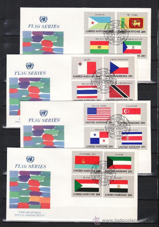 NACIONES UNIDAS NUEVA YORK 341/56 PRIMER DIA, BANDERAS DE LOS ESTADOS MIEMBROS DE LAS NN.UU. (Sellos - Extranjero - América - Otros paises)