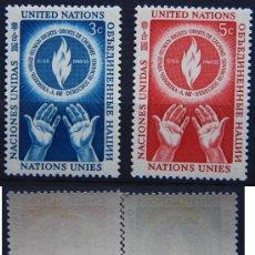 Sellos: ONU NACIONES UNIDAS NEW YORK YVERT: 21-22 AÑO 1953 .........NU-07. Lote 26779628