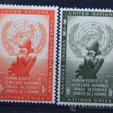 Sellos: ONU NACIONES UNIDAS NEW YORK YVERT: 29-30 AÑO 1954 .........NU-10. Lote 26745853
