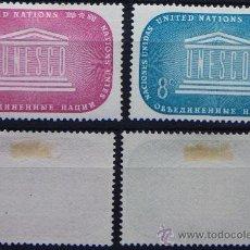 Sellos: ONU NACIONES UNIDAS NEW YORK YVERT: 33-34 AÑO 1955 .........NU-13. Lote 22530621