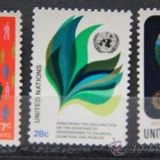 Sellos: ONU NACIONES UNIDAS NEW YORK YVERT: 359-360-361 AÑO 1982 .........NU-20. Lote 22533826