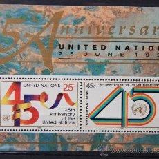 Sellos: ONU NACIONES UNIDAS NEW YORK 45º ANIVERSARIO AÑO 1990 .........NU-29. Lote 22567239