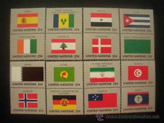 NACIONES UNIDAS NUEVA YORK 1988 IVERT 521/36 *** BANDERAS DE PAISES MIEMBROS DE LA ONU (IX) (Sellos - Extranjero - América - Otros paises)