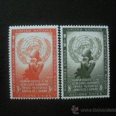 Sellos: NACIONES UNIDAS NUEVA YORK 1954 IVERT 29/30 *** DÍA DE LOS DERECHOS HUMANOS. Lote 23644212