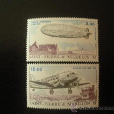 Sellos: SAN PIERRE Y MIQUELON 1988 AEREO IVERT 66/7 *** TRANSPORTES AEREOS - AVION Y ZEPPELIN. Lote 23653440