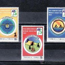 Sellos: TRINIDAD & TOBAGO 452/4 SIN CHARNELA, DEPORTE, 75º ANIVERSARIO DEL SCOUTS, . Lote 23904130