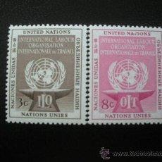 Sellos: NACIONES UNIDAS NUEVA YORK 1954 IVERT 27/8 *** ORGANIZACIÓN INTERNACIONAL DEL TRABAJO - O.I.T.. Lote 24025570