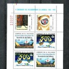 Timbres: SALVADOR (EL) 1154A/D MINI SIN CHARNELA, EXPO 92 SEVILLA V CENTº DESCUBRIMIENTO AMERICA POR C. COLON. Lote 218841941