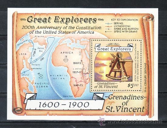 SAN VICENTE-GRENADINES HB 23 SIN CHARNELA, EXPLORADORES, BICENTENARIO CONSTITUCION ESTADOS UNIDOS, (Sellos - Extranjero - América - Otros paises)