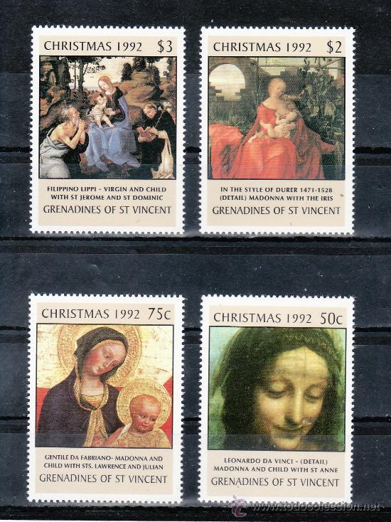 SAN VICENTE-GRENADINES 752/5 SIN CHARNELA, NAVIDAD, PINTURA, (Sellos - Extranjero - América - Otros paises)