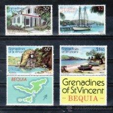 Sellos: SAN VICENTE-GRENADINES 200/3 SIN CHARNELA, BARCO, TURISMO, ISLA DE BEQUIA, . Lote 24319418