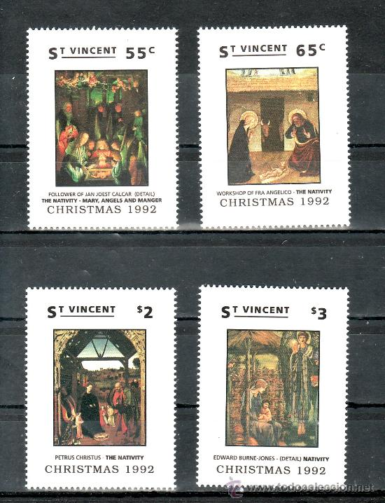 SAN VICENTE 1578/81 SIN CHARNELA, NAVIDAD, PINTURA, (Sellos - Extranjero - América - Otros paises)