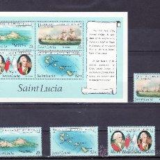 Sellos: SANTA LUCIA 567/70, HB 33 SIN CHARNELA, BICENTENARIO BATALLA DE LOS SANTOS ENTRE FLOTA INGLESA Y FR. Lote 24317383