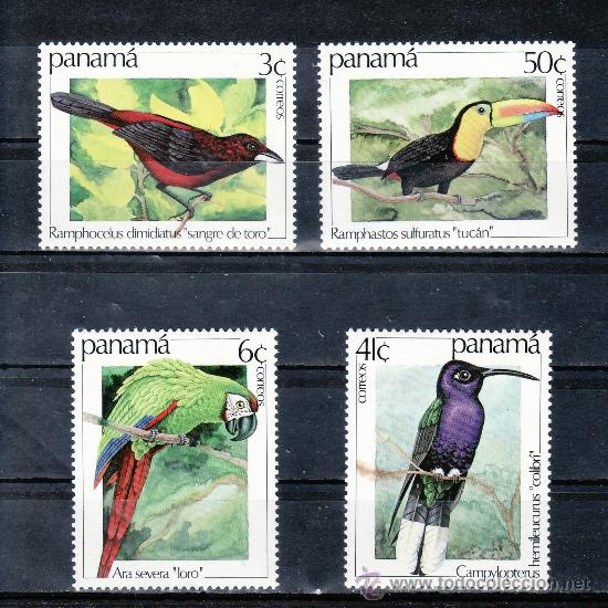 PANAMA 899/902 SIN CHARNELA, FAUNA, PAJAROS, (Sellos - Extranjero - América - Otros paises)