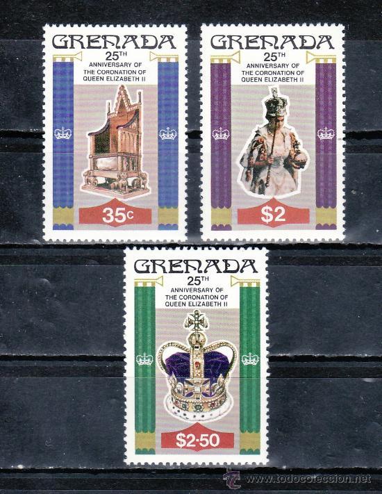 GRENADA 811/3 SIN CHARNELA, 25º ANIVERSARIO CORONACION DE SU MAJESTAD ISABEL II (Sellos - Extranjero - América - Otros paises)