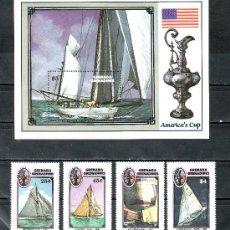 Sellos: GRENADA-GRENADINE 723/6, HB 125 SIN CHARNELA, DEPORTE NAUTICO, BARCO, COPA DE VELA -AMERICA- . Lote 25127275