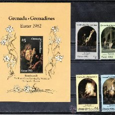Sellos: GRENADA-GRENADINE 442/5, HB 66 SIN CHARNELA, PASCUA, PINTURA DE REMBRANDT, . Lote 25127987