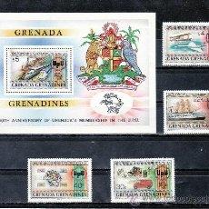 Sellos: GRENADA-GRENADINE 423/6, HB 61 SIN CHARNELA, U.P.U., AVION, BARCO, AUTOMOVIL, DILIGENCIA, FF.CC., . Lote 25129740