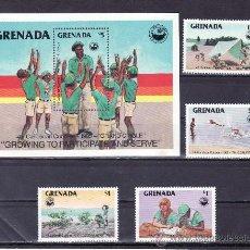 Sellos: GRENADA 1265/8, HB 137 SIN CHARNELA, DEPORTE, 4º REUNION DE LOS -CACHORROS- DEL CARIBES. Lote 25132150