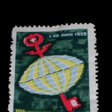 Sellos: SELLO ORIGINAL XXVII FERIA OFICIAL E INTERNACIONAL DE MUESTRAS DE BARCELONA 1-20 JUNIO 1959. Lote 26020581