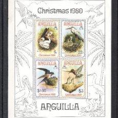 Sellos: ANGUILLA HB 34 SIN CHARNELA, NAVIDAD, FAUNA, AVES, PAJAROS Y SUS CRIAS, . Lote 26587885