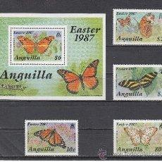 Sellos: ANGUILLA 667/70, HB 76 SIN CHARNELA, PASCUA, FAUNA, MARIPOSAS, . Lote 26587961