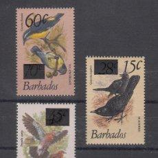 Sellos: BARBADOS 533/4, 536 SIN CHARNELA, FAUNA, PAJAROS, SOBRECARGADO . Lote 26644497