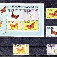 Sellos: BAHAMAS 539/42 HB 39 SIN CHARNELA, VIDA SILVESTRE, FAUNA, MARIPOSAS, . Lote 26649309