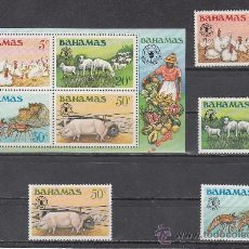 Sellos: BAHAMAS 488/91, HB 35 SIN CHARNELA, DIA MUNDIAL DE LA ALIMENTACION, GANADERIA, . Lote 26649625