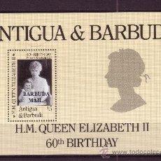 Sellos: BARBUDA HB 101*** - AÑO 1986 - 60º ANIVERSARIO DE LA REINA ISABEL II. Lote 26230153