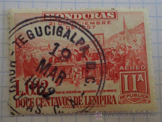 SELLO DE HONDURAS. 12 CENTAVOS DE LEMPIRA. AÉREO. AÑO 1957. ROJO. MATASELLADO. (Sellos - Extranjero - América - Otros paises)