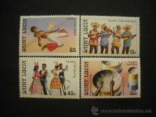 SANTA LUCÍA 1986 IVERT 844/7 *** TURISMO Y FOLKLORE (Sellos - Extranjero - América - Otros paises)