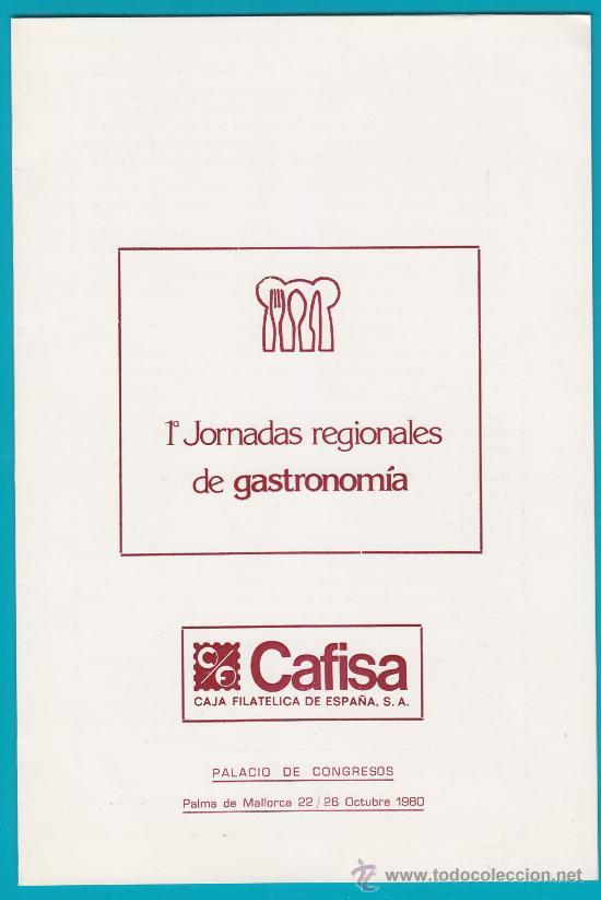 CAFISA Nº 82 DE 100 1ª BIPTICO FILATELICO JORNADAS DE GASTRONOMIA 1980 (Sellos - Temáticas - Varias)