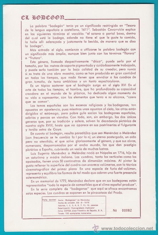 Sellos: CAFISA Nº 82 DE 100 1ª BIPTICO FILATELICO JORNADAS DE GASTRONOMIA 1980 - Foto 2 - 34619111