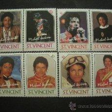Sellos: SAN VICENTE 1985 IVERT 890/7 *** HOMENAJE AL CANTANTE MICHAEL JACKSON - MÚSICA. Lote 36415521