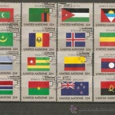 Sellos: NACIONES UNIDAS CONJUNTO BANDERAS YVERT NUM. 467/82 SERIE COMPLETA USADA. Lote 204241033
