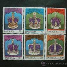 Sellos: BARBUDA 1978 IVERT 390/5 *** 25º ANIVERSARIO CORONACIÓN DE LA REINA ISABEL II - MONARQUÍA . Lote 36720938