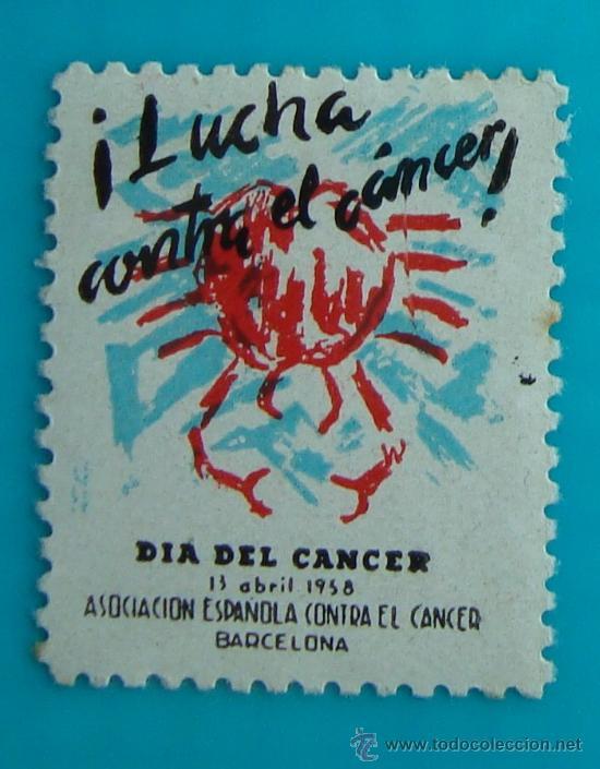 SELLO, VIÑETA, DIA DEL CANCER, LUCHA CONTRA EL CANCER, BARCELONA 1958, NUEVO CON GOMA (Sellos - Temáticas - Varias)