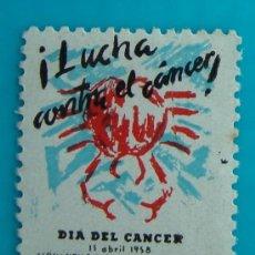 Sellos: SELLO, VIÑETA, DIA DEL CANCER, LUCHA CONTRA EL CANCER, BARCELONA 1958, NUEVO CON GOMA. Lote 37115067