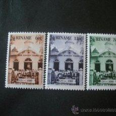 Sellos: SURINAM 1990 IVERT 1177/9 *** 60º ANIVERSARIO DEL TEMPLO ARYA DEWAKER - MONUMENTOS. Lote 37416645