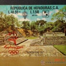Sellos: HONDURAS - HOJA BLOQUE YVERT TELLIER Nº 27 (1978) CON SOBRECARGA SYDNEY 2000 - CIRCULADA - RAREZA. Lote 37632560