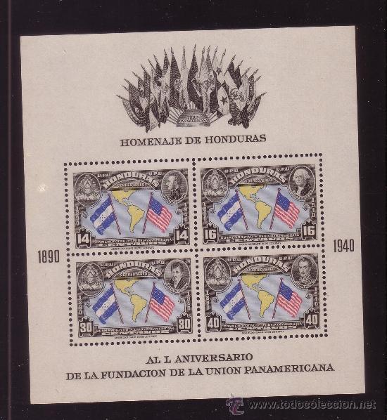 HONDURAS HB 1** - AÑO 1940 - 50º ANIVERSARIO DE LA UNION PANAMERICANA (Sellos - Extranjero - América - Otros paises)