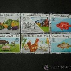 Sellos: TRINIDAD & TOBAGO 1981 IVERT 439/44 *** DÍA MUNDIAL DE LA ALIMENTACIÓN - FAUNA Y FLORA. Lote 38526075