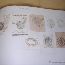 Sellos: TERRASSA - TARRASA - 22 SELLOS TAMPON , AYUNTAMIENTO , INSTITUCIONES S. XIX . Lote 41010950