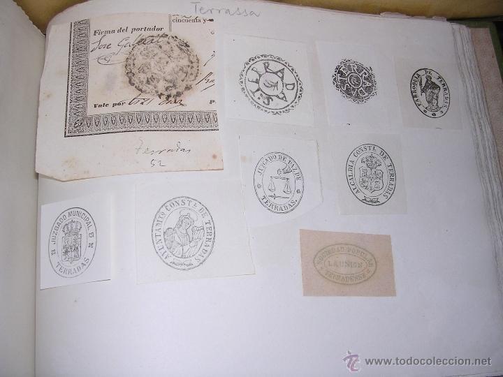 Sellos: TERRASSA - TARRASA - 22 SELLOS TAMPON , AYUNTAMIENTO , INSTITUCIONES S. XIX - Foto 2 - 41010950