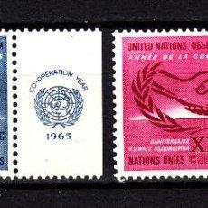 Sellos: NACIONES UNIDAS NEW YORK 139/40** - AÑO 1965 - AÑO DE LA COOPERACIÓN INTERNACIONAL . Lote 41753690